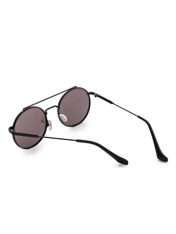 d4f28db46f Gafas de sol redondas doble puente con marco negro y lentes planos   SHEIN  ES