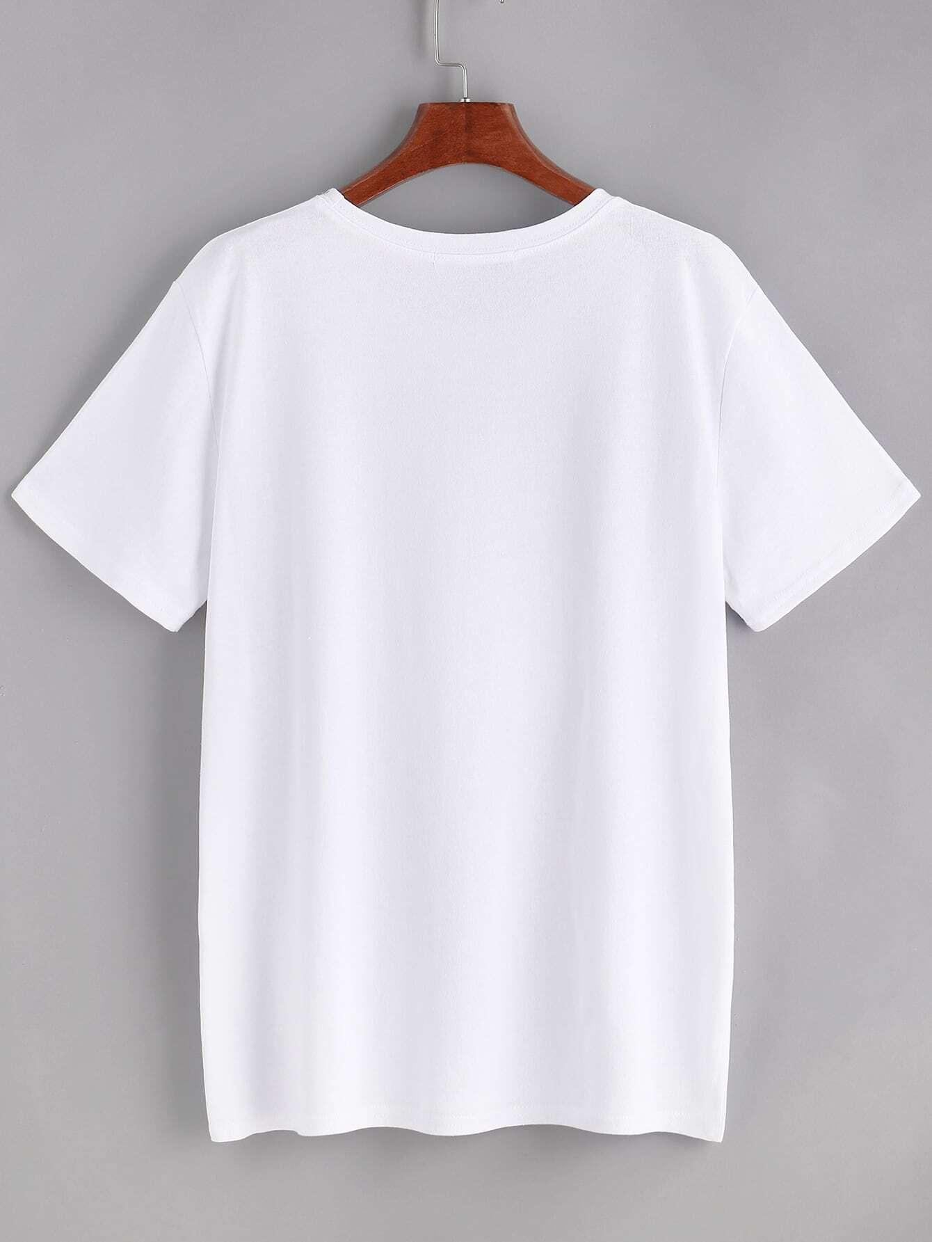 white graphic print t shirt shein sheinside. Black Bedroom Furniture Sets. Home Design Ideas