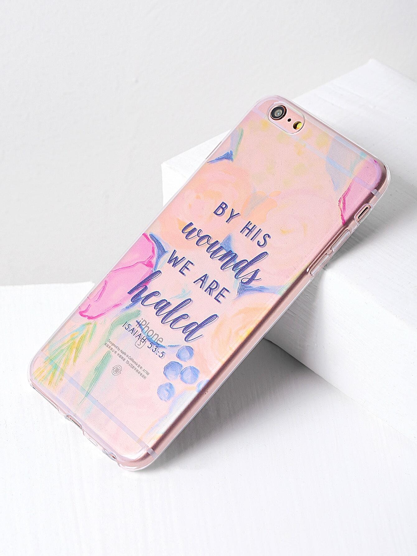 51f7388522 Letter Print Clear iPhone 6 Plus/6s Plus Case | SHEIN