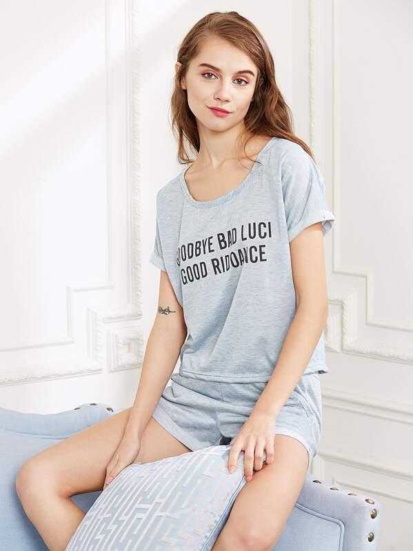 9801950f8be9 Heather Grey Slogan Print Tee And Shorts Pajama Set