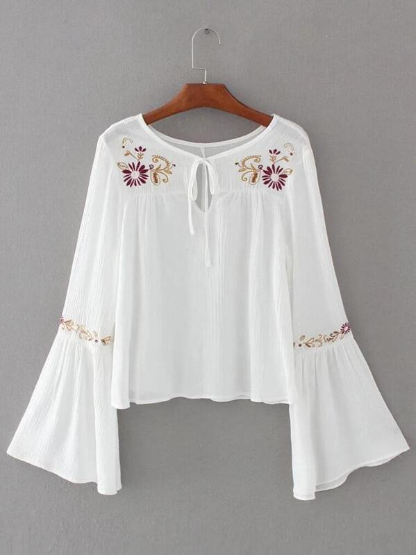 White flower embroidery tie neck bell sleeve blouse sheinsheinside mightylinksfo