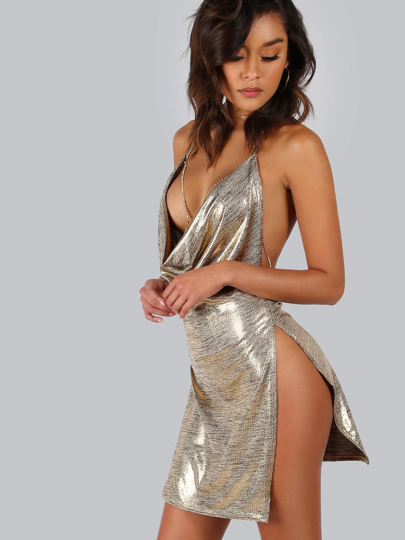 Backless Metallic Plunge Cowl Slit Dress -SheIn(Sheinside)