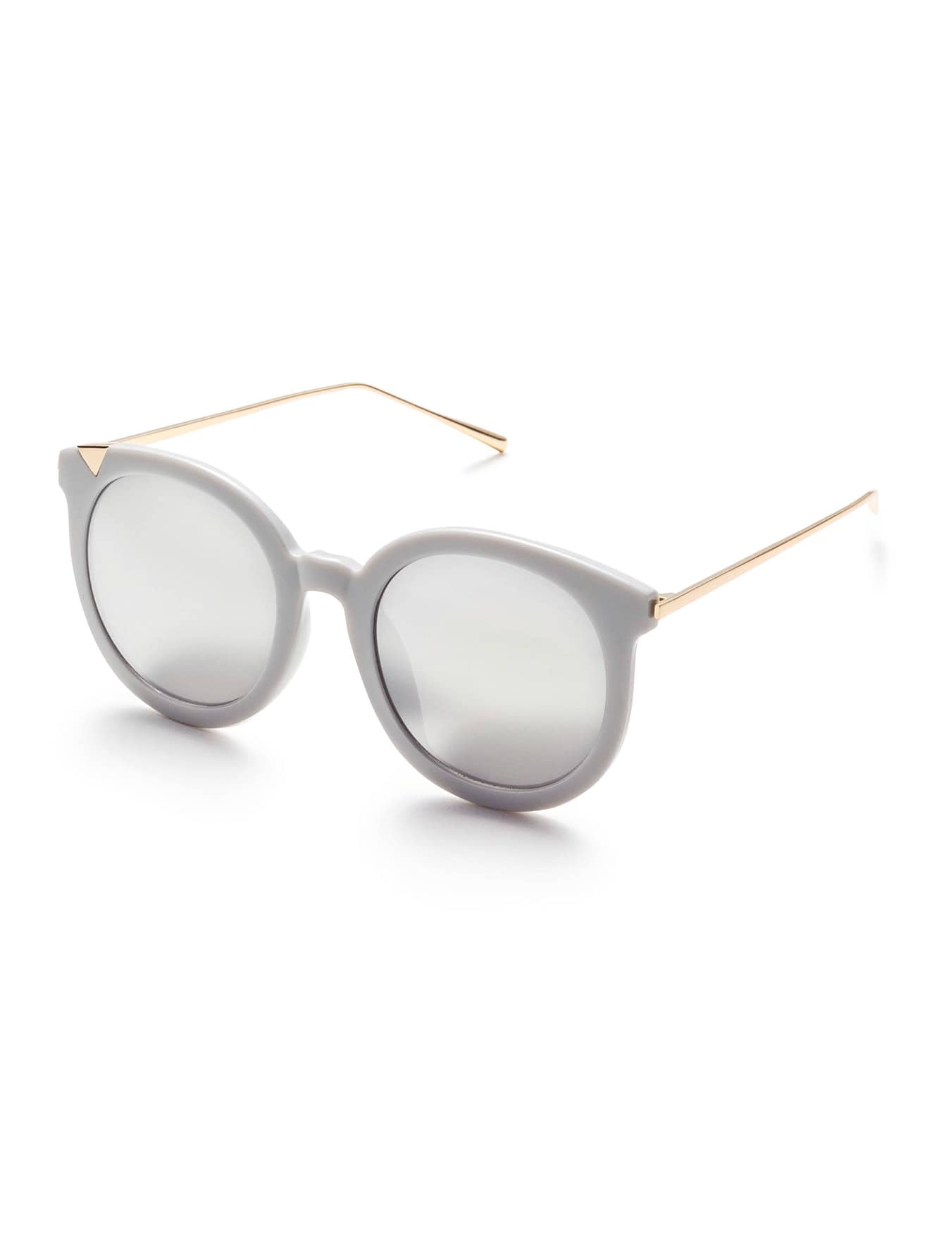 e668c044c3b0 Grey Frame Metal Arm Clear Lens Sunglasses -SheIn(Sheinside)