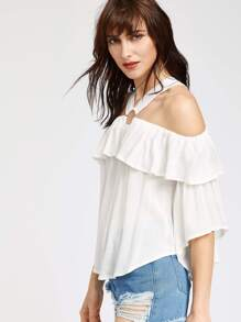 O Ring Cold Shoulder Ruffle Top pictures