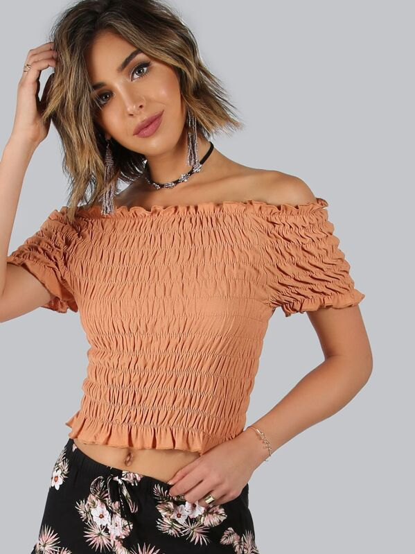 30f3220b024d5 Elastic Off Shoulder Ruffle Crop Top BURNT ORANGE