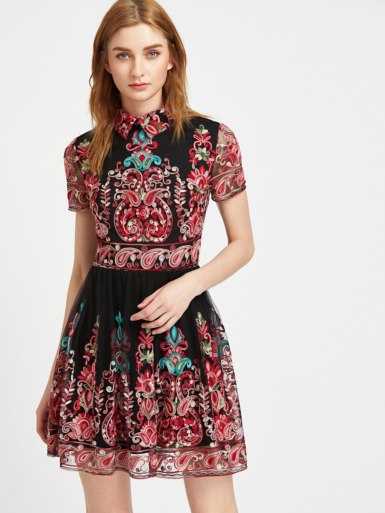 Embroidered Mesh Overlay Skater Dress Shein Sheinside