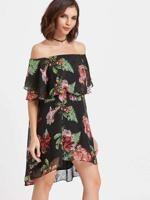 922417070a Black Flower Print Ruffle Off The Shoulder Dress | SHEIN UK