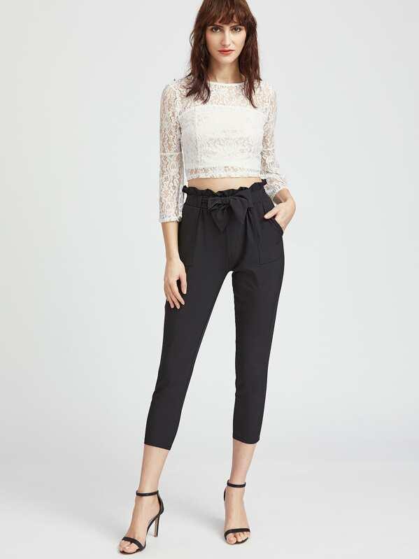 Pantalons taille ruchée avec un lacet -French SheIn(Sheinside) 37d5ec77634