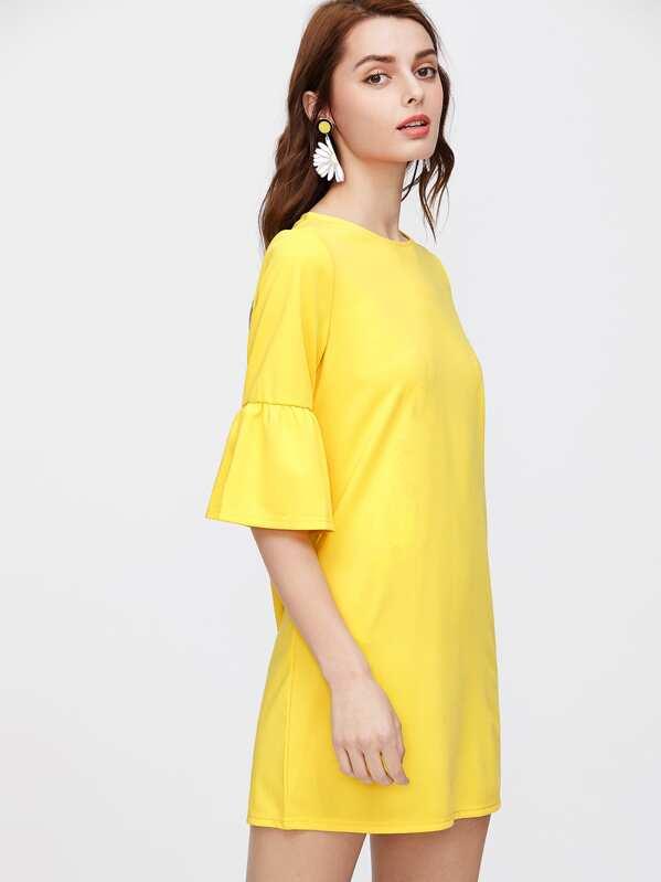 Vestido de mangas al codo con volantes - amarillo  d7a0893e4353