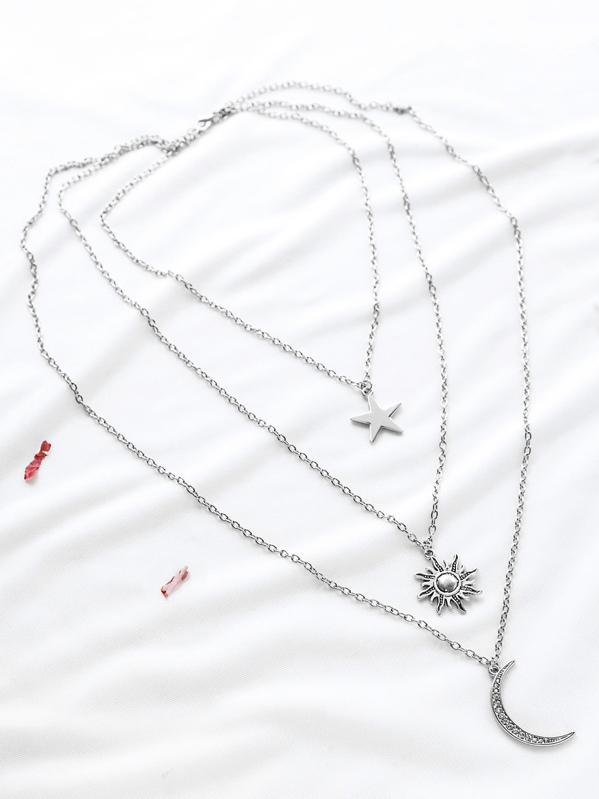 Silver Star Sun Moon Pendant Layered Necklace Shein