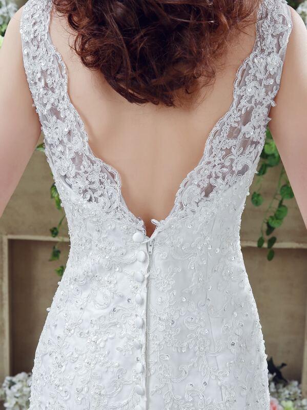 fa449baafb1f1 فستان الزفاف طويل أنيق جميل ظهر V - أبيض
