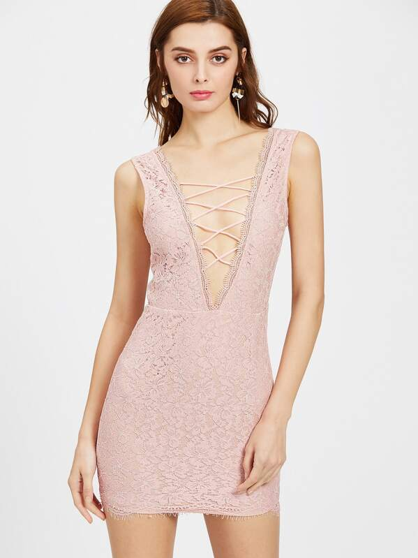 4c3d2f0247f69 Scallop Edge Plunge Lattice Front V-Back Lace Dress