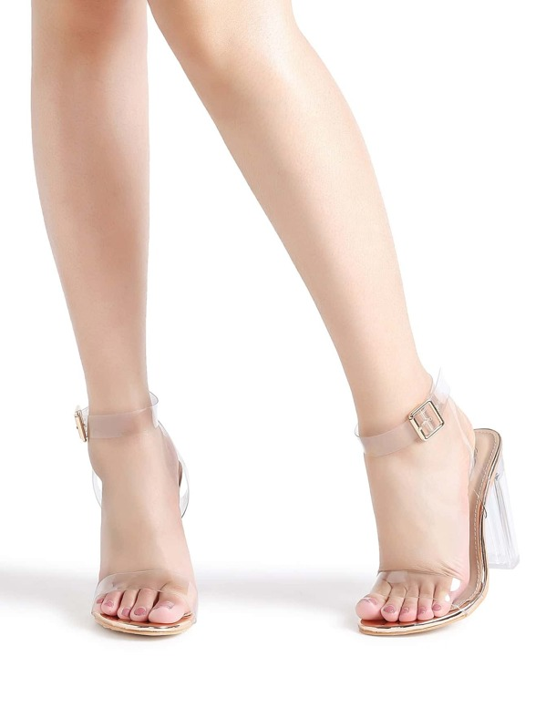 5a60a782dcffa Ankle Strap Chunky Heeled Clear Sandals