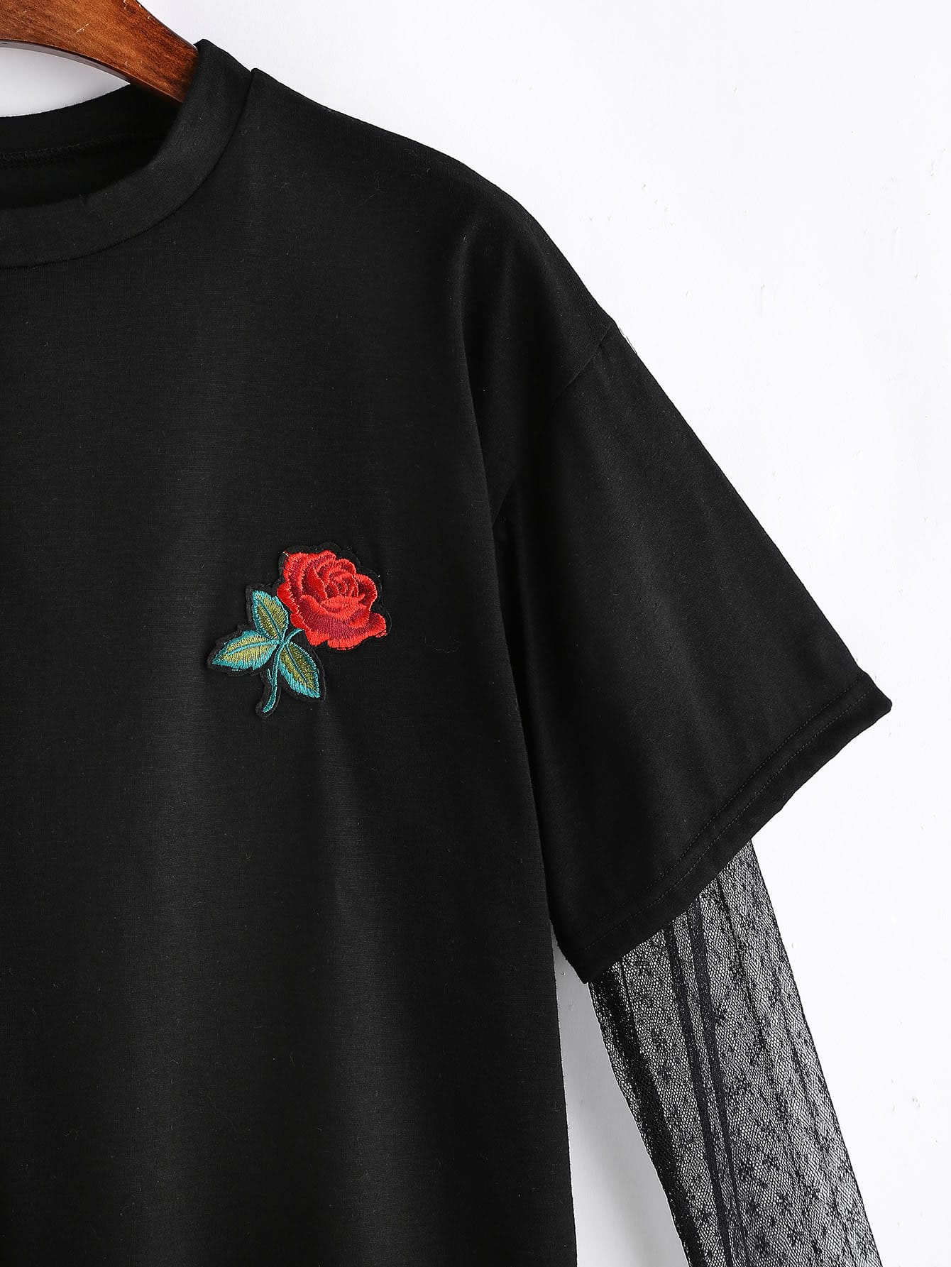 Rose embroidered patch contrast mesh sleeve in t shirt