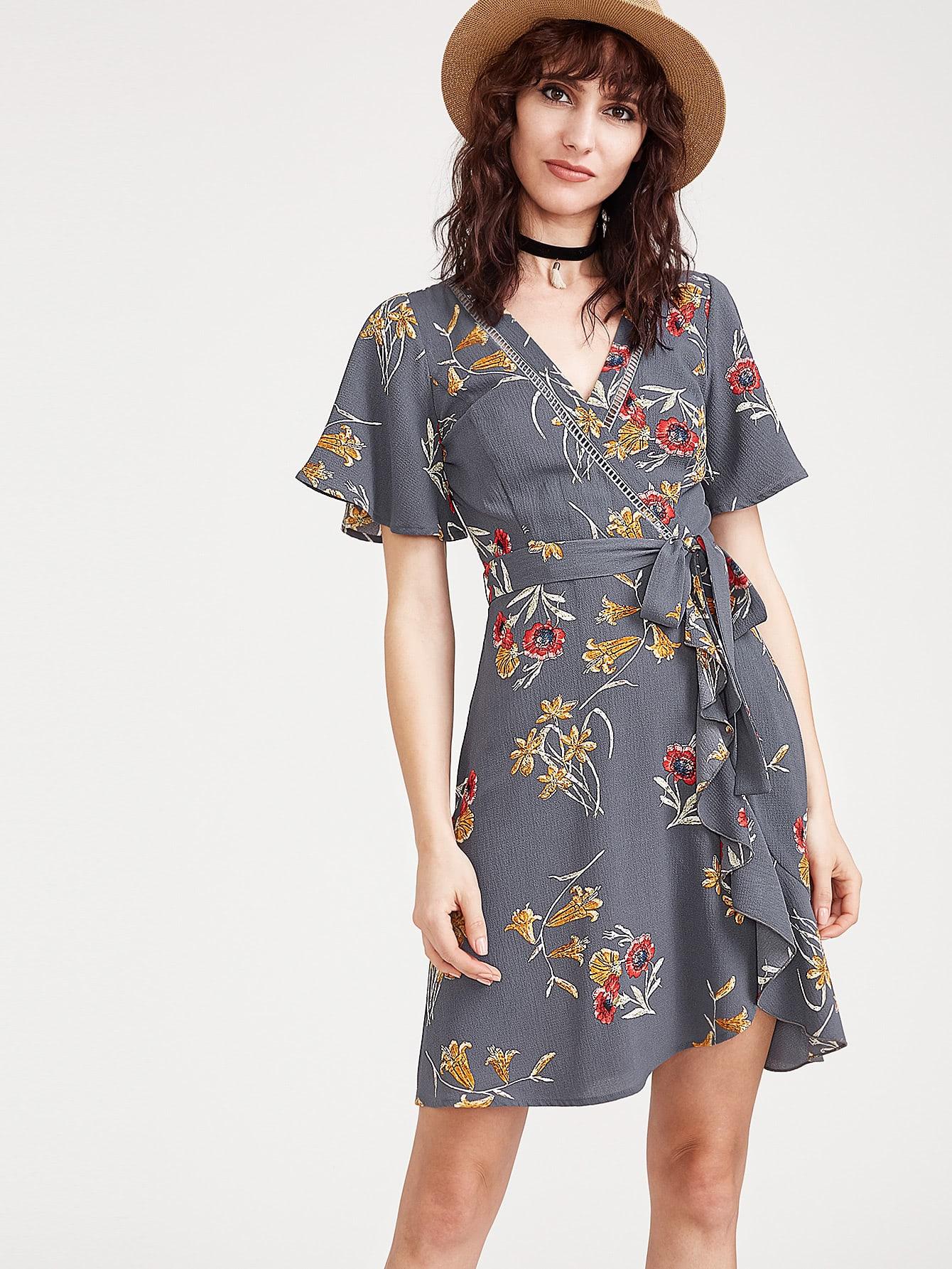 Botanical Print Flutter Sleeve Surplice Obi Tie Dress