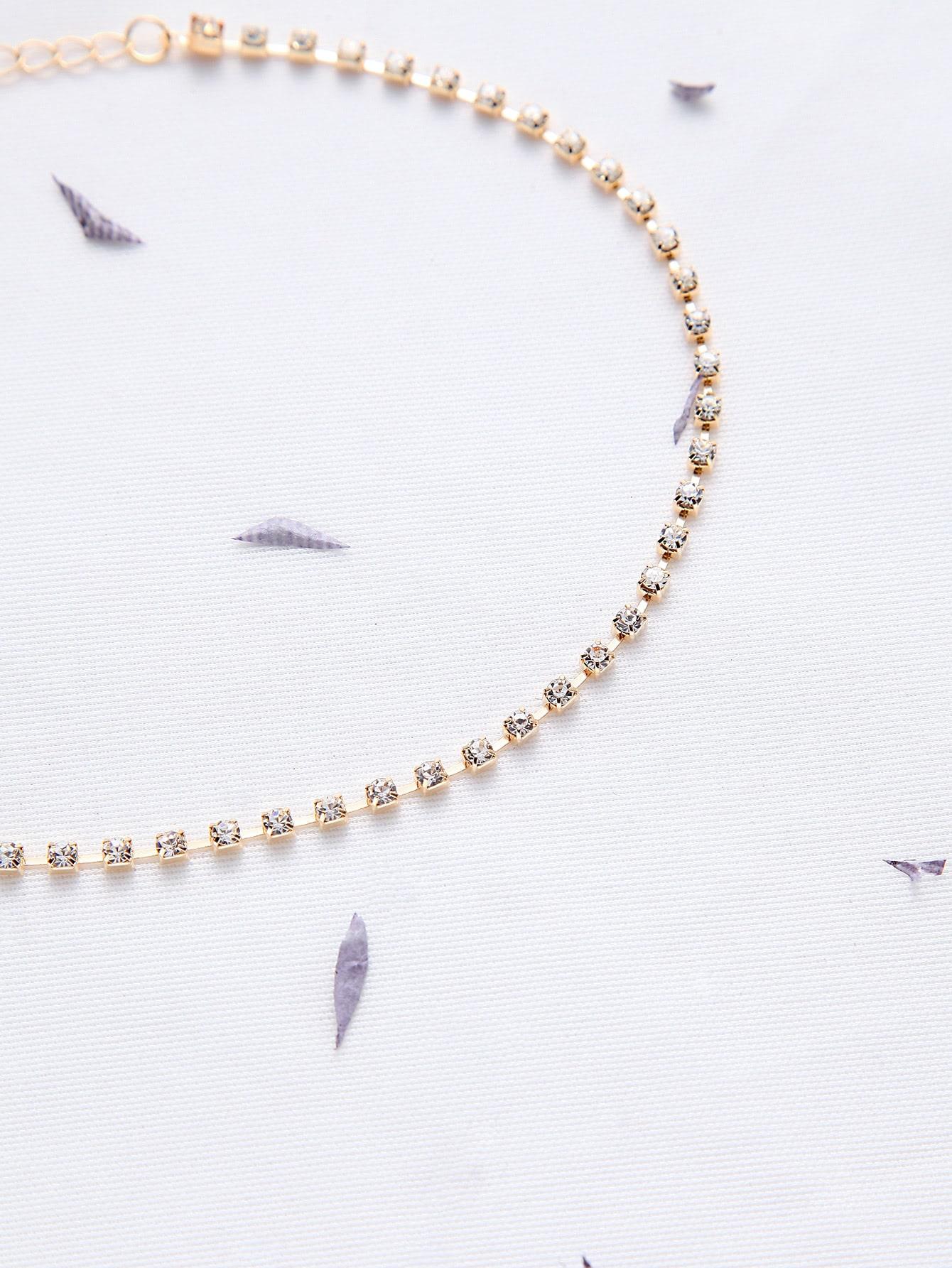 gold rhinestone delicate choker necklace shein sheinside
