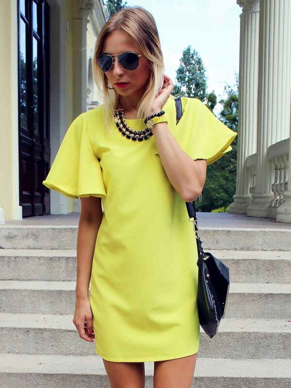 0ea6ffff15 Bell Sleeve Shift Dress | SHEIN