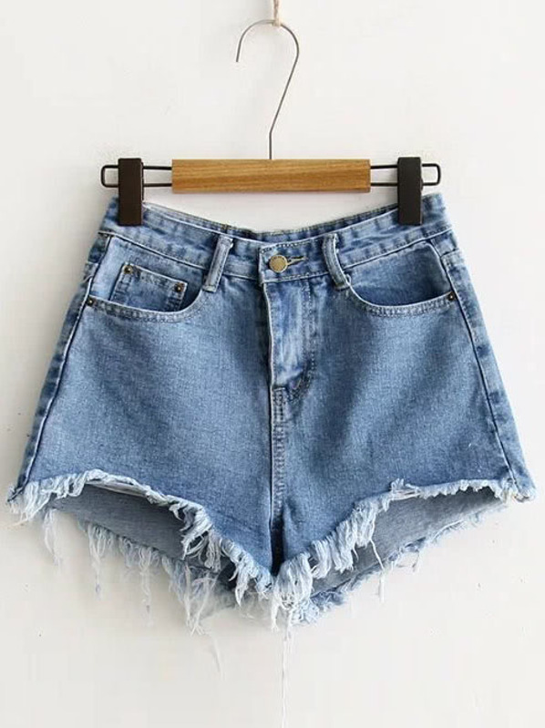 41648cbbff Blue Raw Hem Denim Shorts | SHEIN
