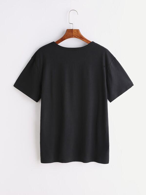 Sheinside gatto T nero stampa SheIn Italian shirt di con wPqAyp4S