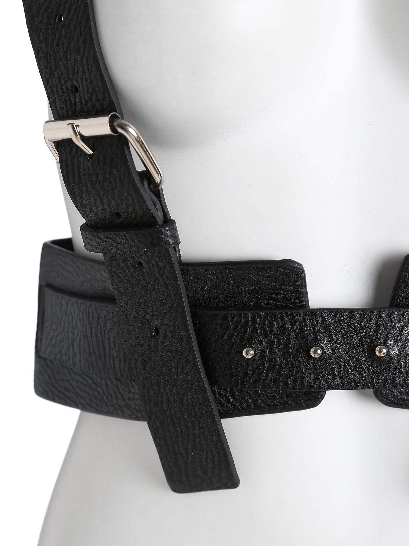 black buckle faux leather corset belt shein sheinside