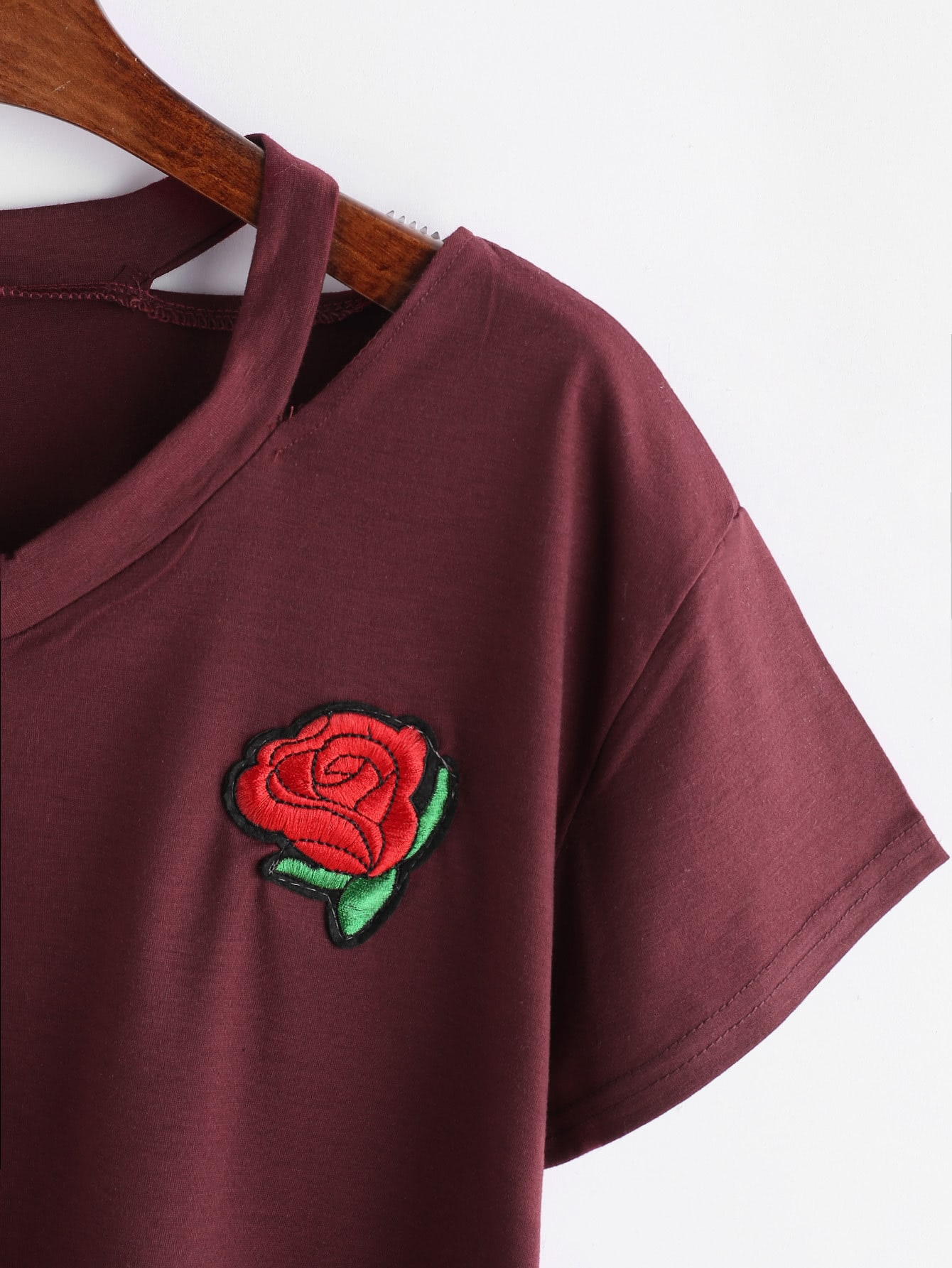 Burgundy ripped neck rose embroidered patch crop t shirt