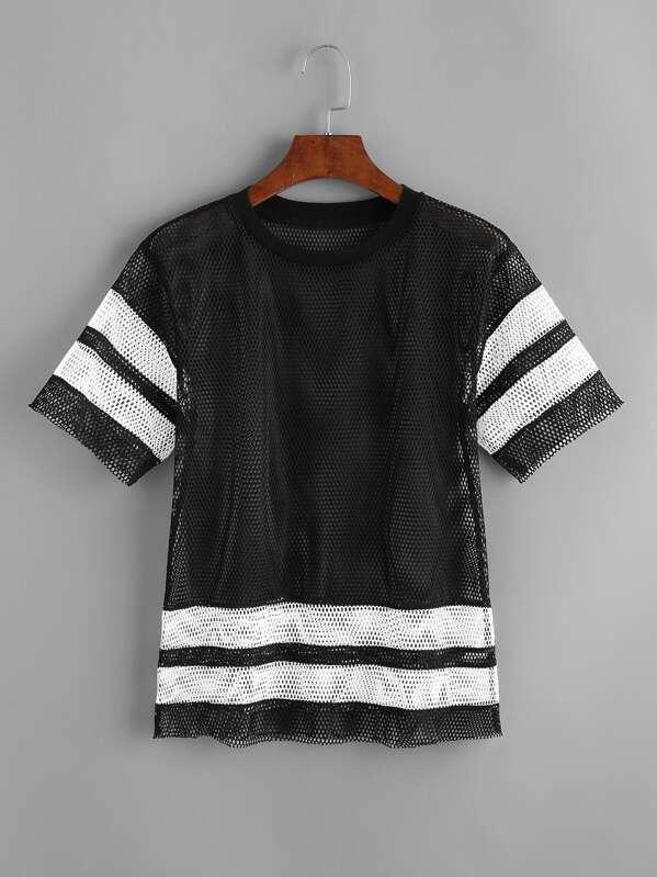 938b6c2903e32 Camiseta de malla transparente - negro