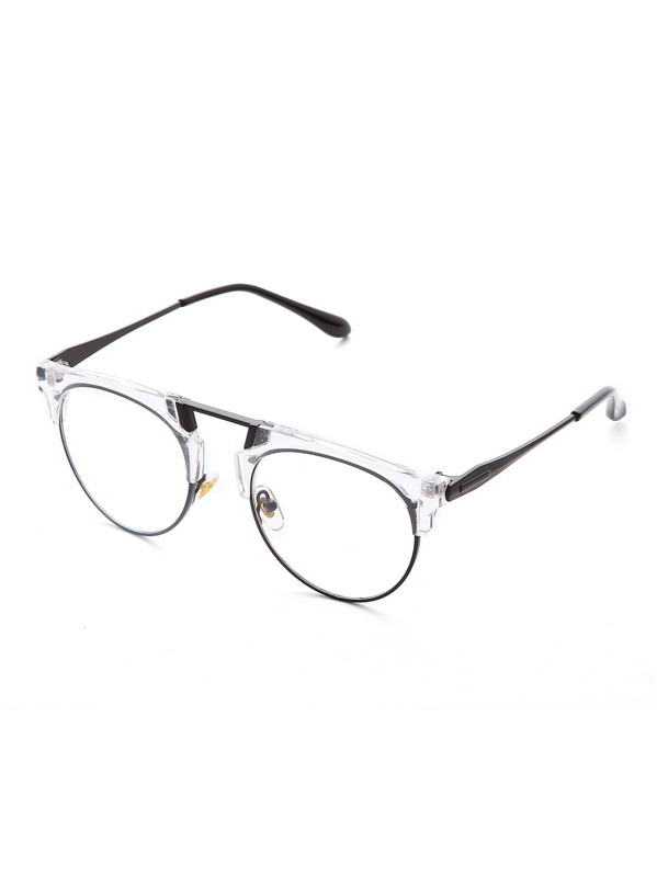 22abe03187 Clear Frame Clear Lens Retro Style Glasses -SheIn(Sheinside)