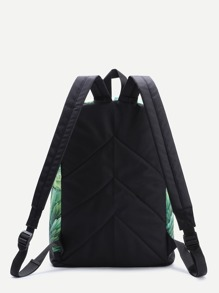 Green Leaf Pattern Patch Detail Casual Canvas Backpack