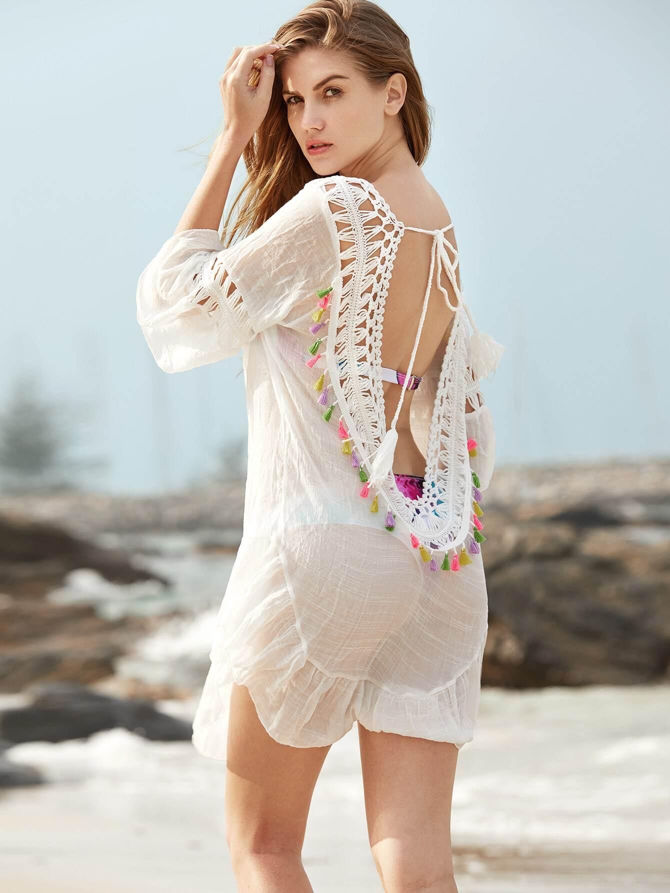 Crochet Insert Open Back Tassel Detail Cover Up