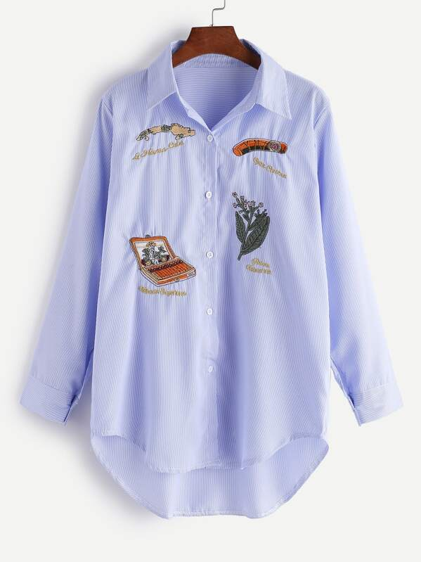 56c050c8ff Blue Vertical Striped Embroidered High Low Shirt | SHEIN