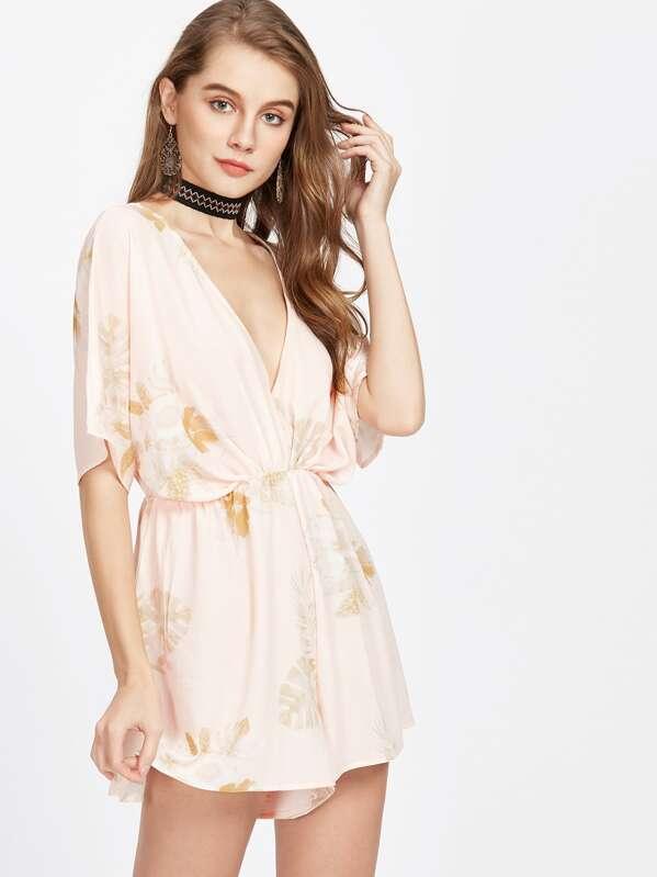 c790925eda Tropical Print Plunging Elastic Waist Kimono Playsuit -SheIn(Sheinside)