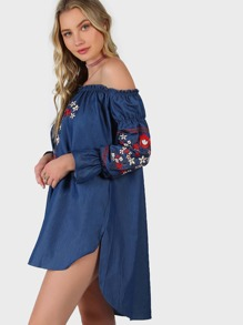 Blue Off The Shoulder High Low Embroidered Chambray Dress pictures