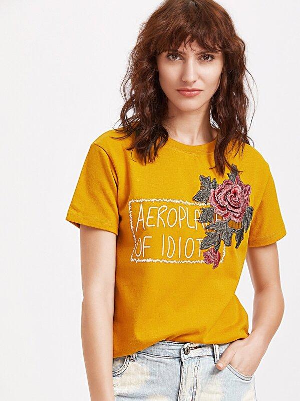 da22312dc Yellow Flower Embroidery T-shirt -SheIn(Sheinside)