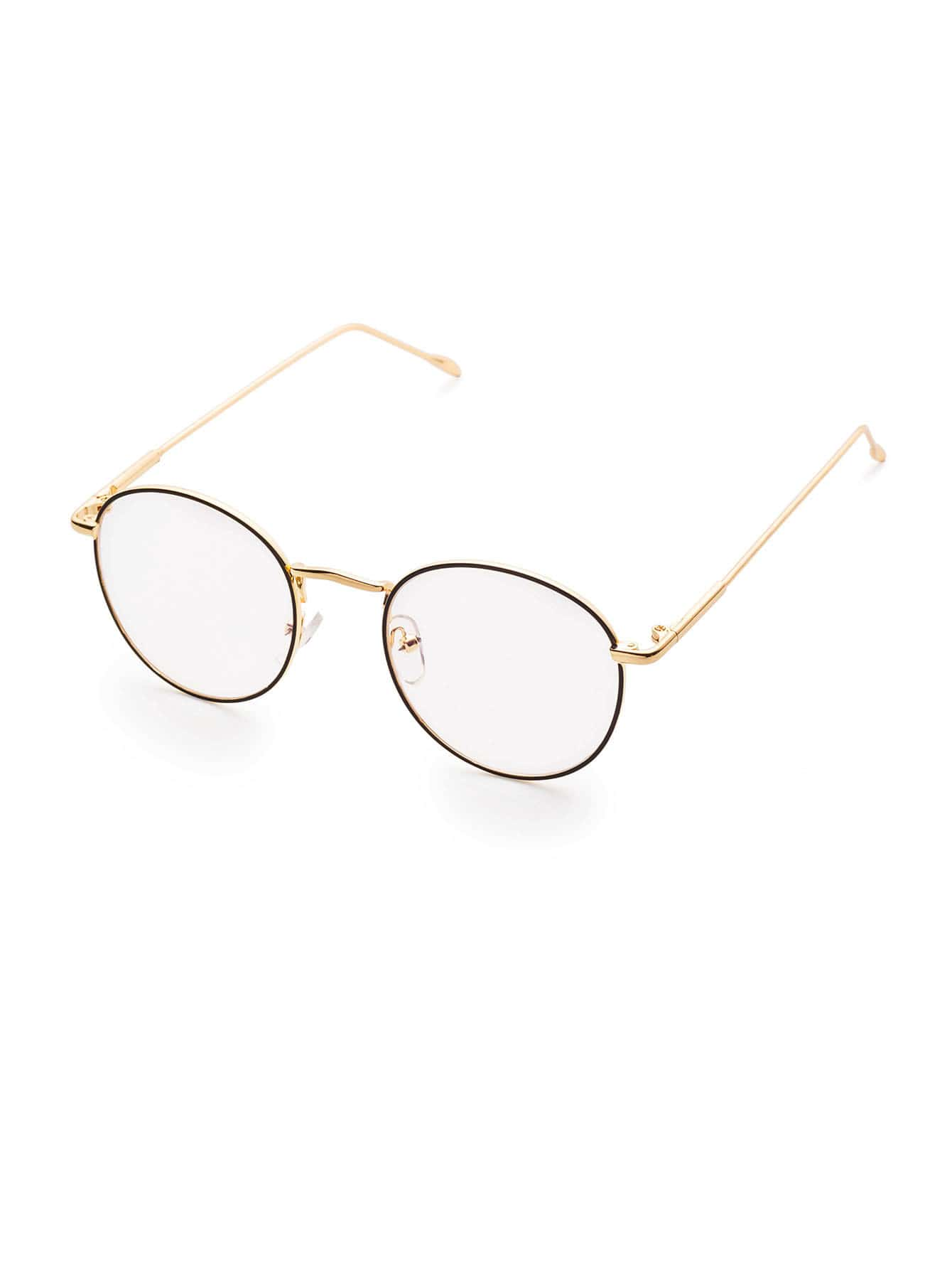 a792b76fd1e Gold Frame Clear Lens Glasses -SheIn(Sheinside)