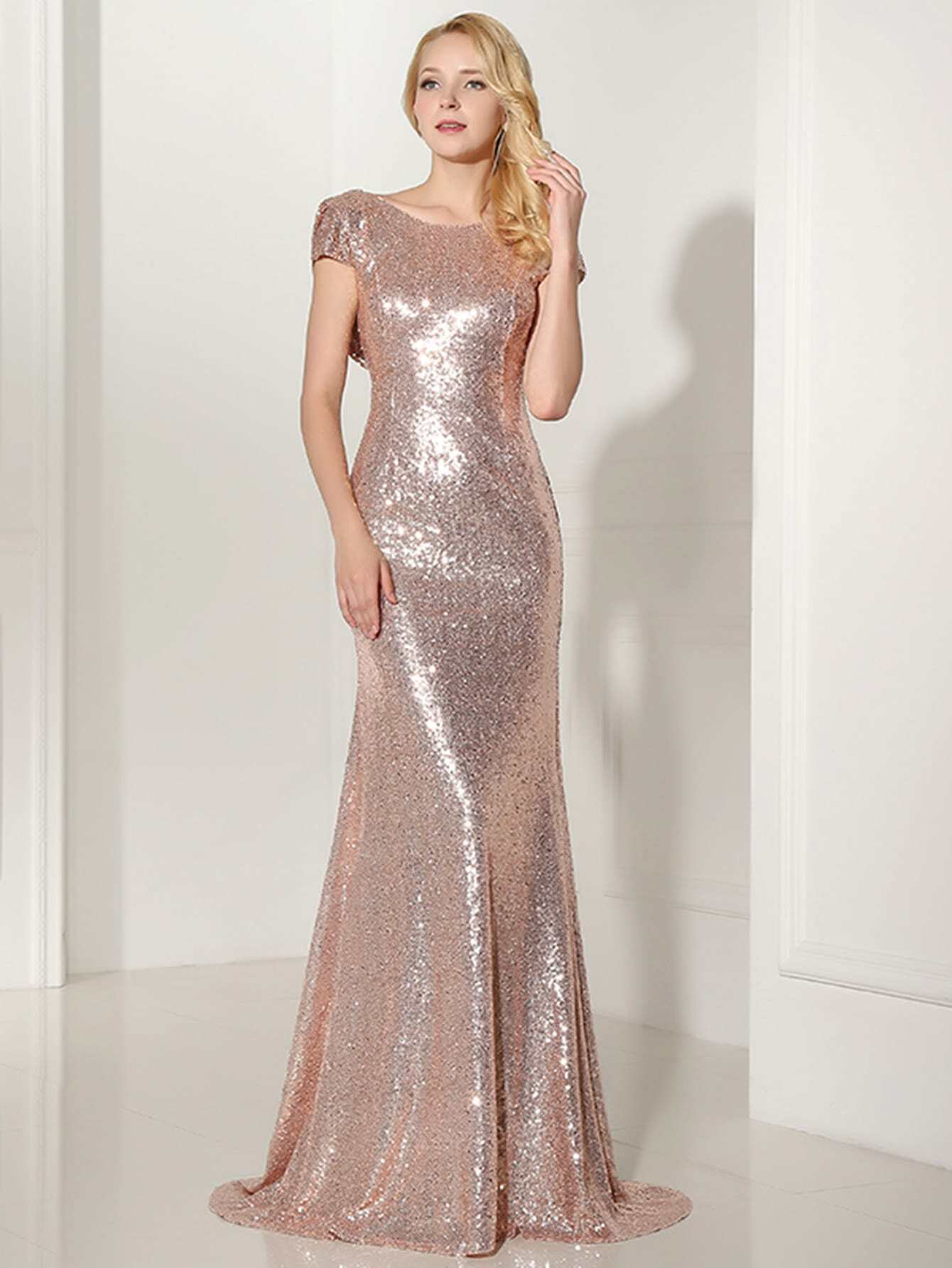 Rose Gold Sequin Open Back Maxi Bridesmaid Dress Shein