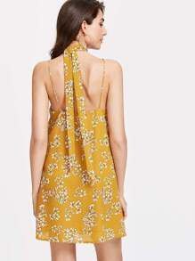 Mustard Flower Print Textured Cami Dress With Neck Tie pictures
