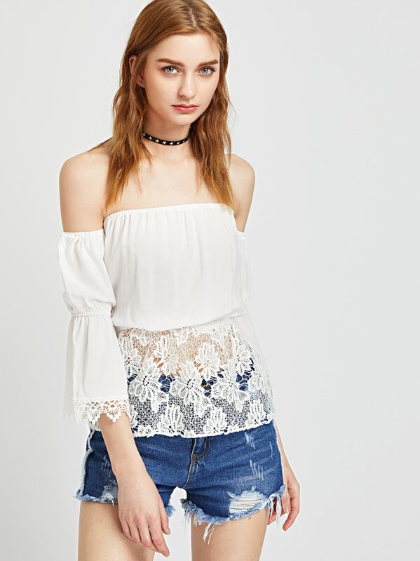 3ef1a5be77 White Off The Shoulder Contrast Crochet Lace Peplum Top -SheIn(Sheinside)