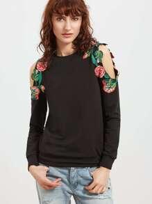 Embroidered Flower Applique Open Shoulder Sweatshirt pictures