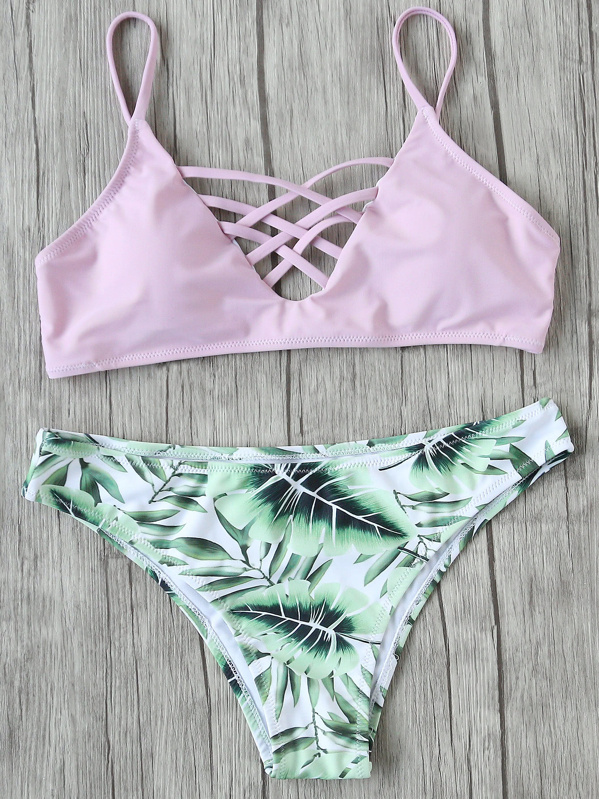 cb9a7b9538 Cheap Leaf Print Criss Cross Mix & Match Bikini Set for sale Australia |  SHEIN
