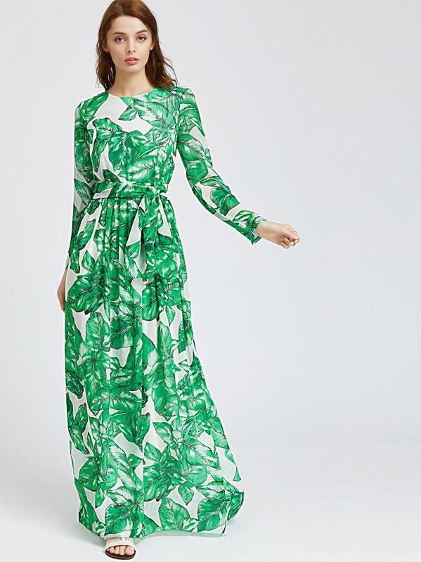 ec62106ddb22 Palm Leaf Print Maxi Dress | SHEIN IN