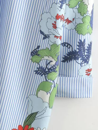 99b016f6ee Flower Print Vertical Striped Shirt Dress   SHEIN