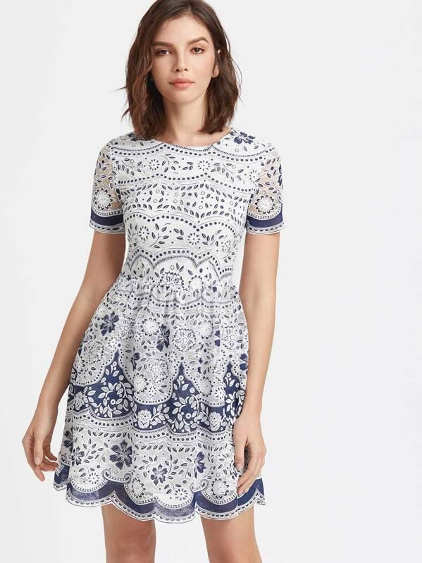 727b7ce1bc57 Blue And White Flower Print Scallop Mesh Skater Dress -SheIn(Sheinside)