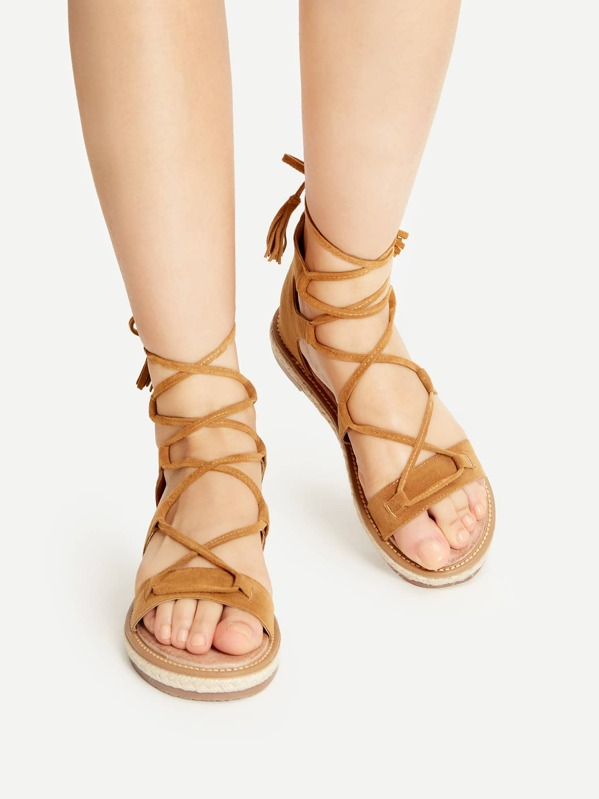 d9da0b31a447 Brown Lace Up Espadrille Flat Sandals With Tassel