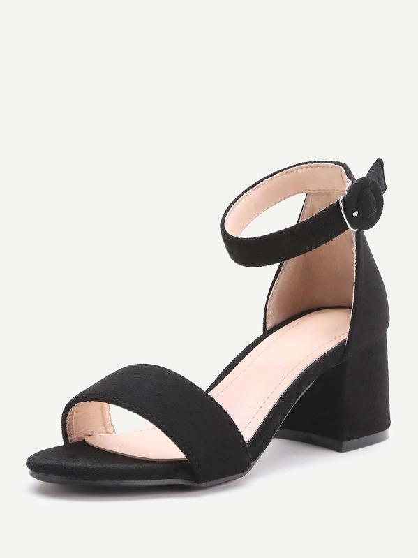 649b72ec2321 Black Two Part Block Heel Sandals