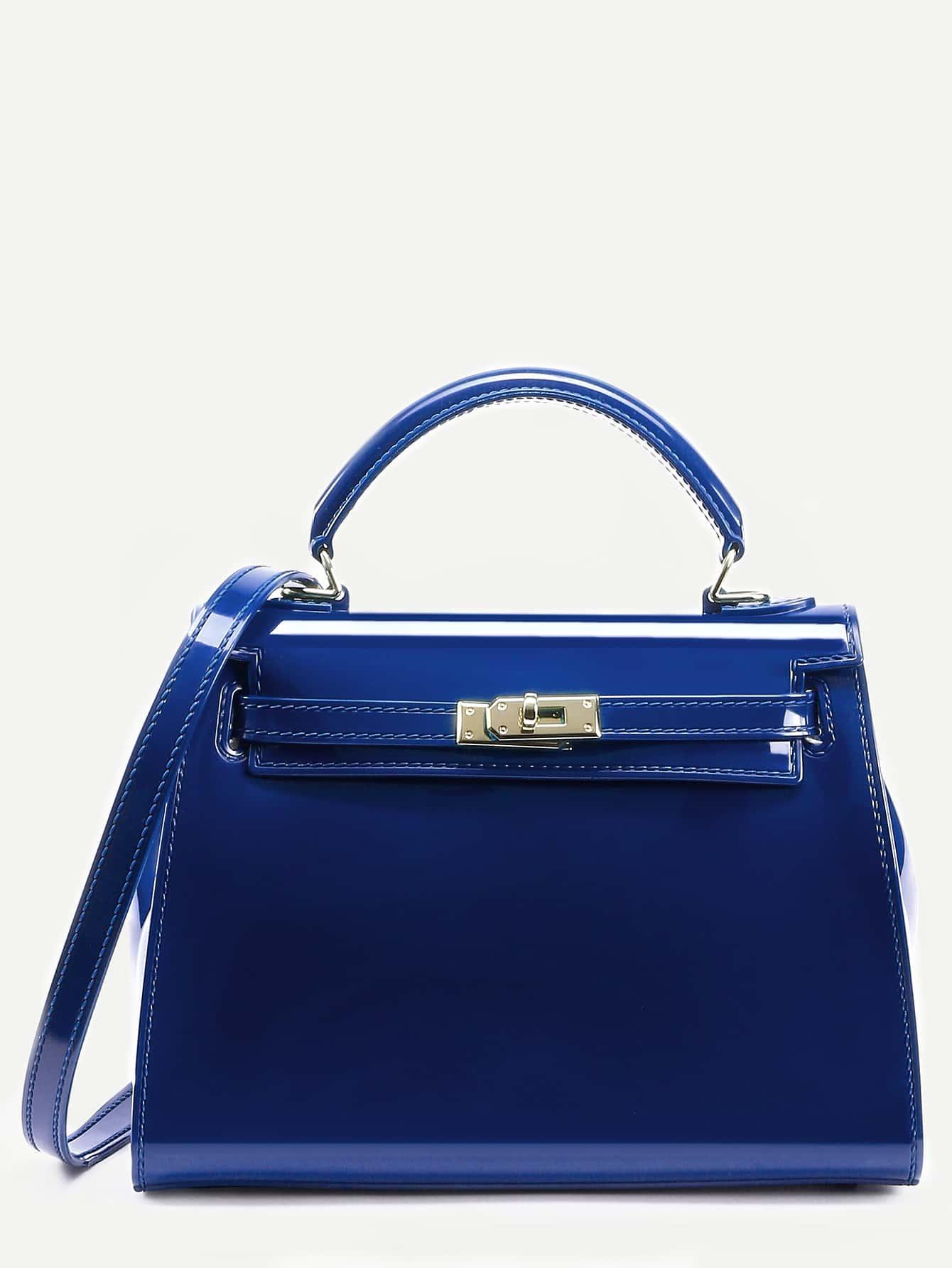 sac main en plastique avec verrou tournant bleu french shein sheinside. Black Bedroom Furniture Sets. Home Design Ideas