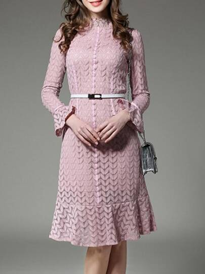 Pink Belted Bell Sleeve Lace Dress