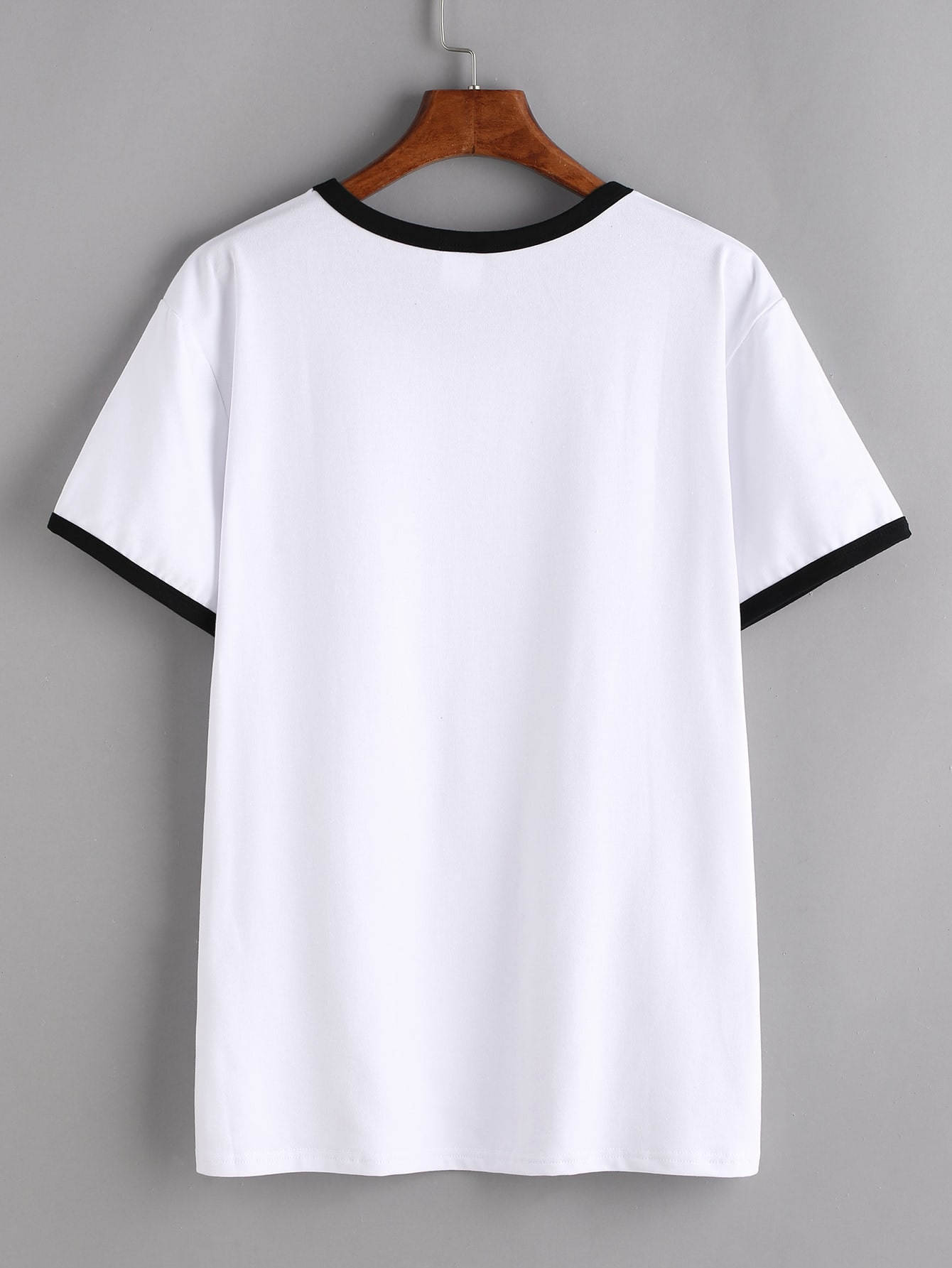 Contrast trim letter print t shirt shein sheinside for Letter print t shirt
