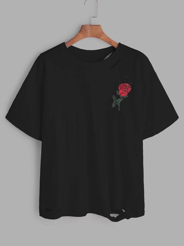 d02165bdbabf Schwarzes T-Shirt mit Rose Stickereien und Rissen