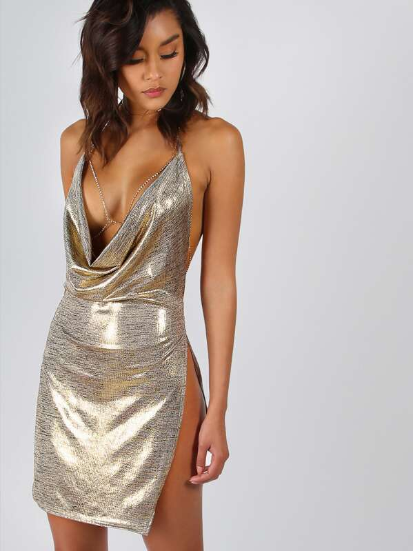 08e798947122 High Split Plunge Cowl Neck Metallic Dress