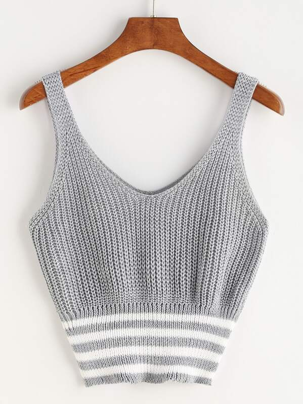 07a96674376dde Marled Knit Double V Neck Striped Hem Tank Top